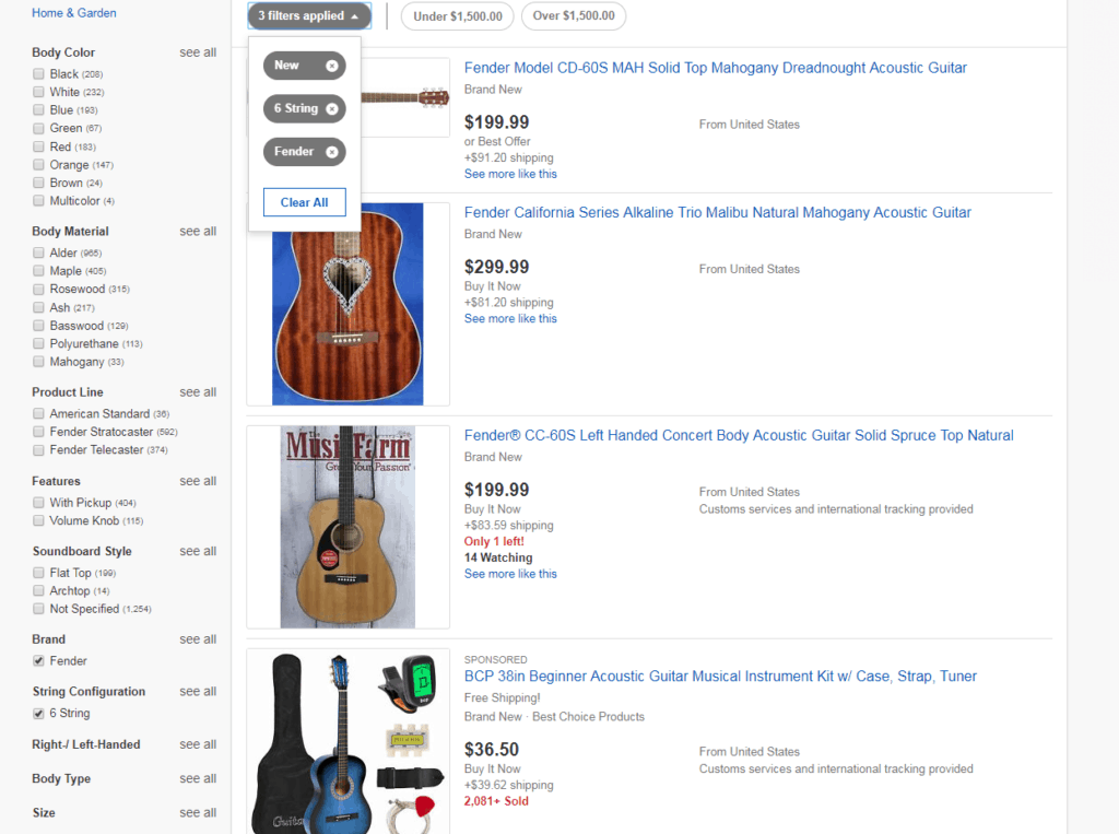 how to buy a guitar on ebay